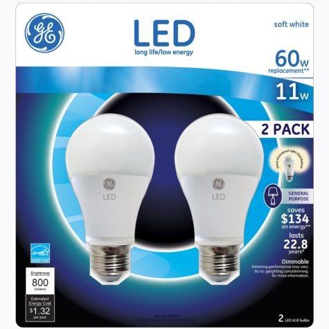 GE 11 Watt LED General Use Bulb (2-pack)
