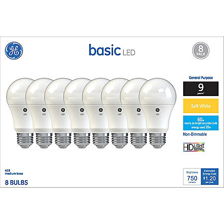 GE Soft White 60W Replacement LED Light Bulb A19 (8-pack)