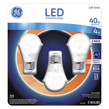 ge 4 watt a15 led ceiling fan bulb soft white 3pack - A15 Bulb