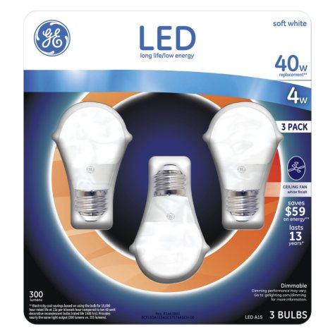 GE 4 Watt A15 LED Ceiling Fan Bulb - Soft White (3-pack)