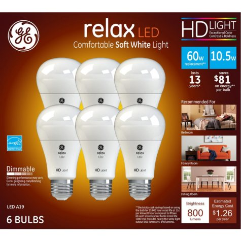 GE HD Soft White 60W Replacement LED Light Bulb A19 (6-pack)