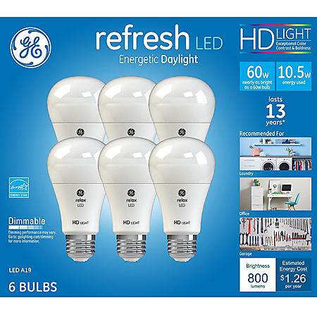 GE HD Daylight 60W Replacement LED Light Bulb A19 (6-pack)