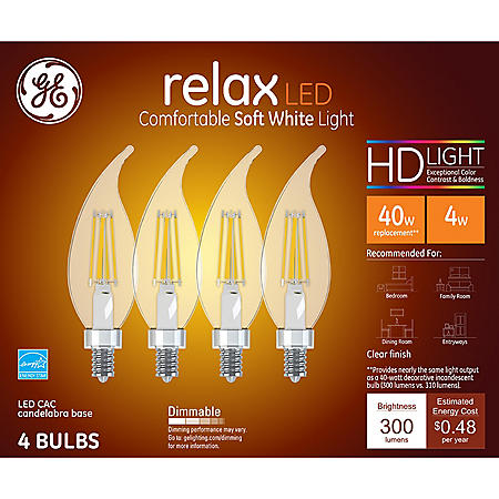 GE 40W Replacement LED Decorative Candelabra (4-pack)