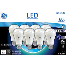GE 9 Watt A19 LED Bulb (Soft White, 8 pk.)