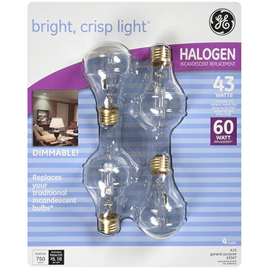 GE Halogen 43 Watt Incandescent Replacement Bulbs - 4 pk.