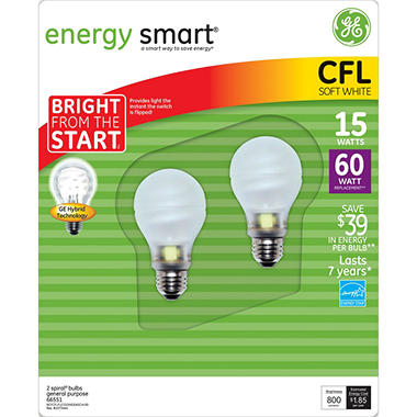 GE 15 Watt Bright CFL - Replaces 60 Watt (2 Pack)