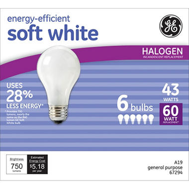 GE 43 Watt Soft White - Replaces 60 Watt Bulb (6-pack)