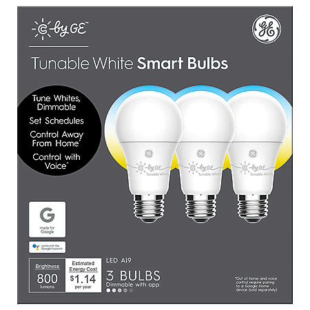 C by GE Tunable White A19 Smart LED Bulbs (3-Pack)