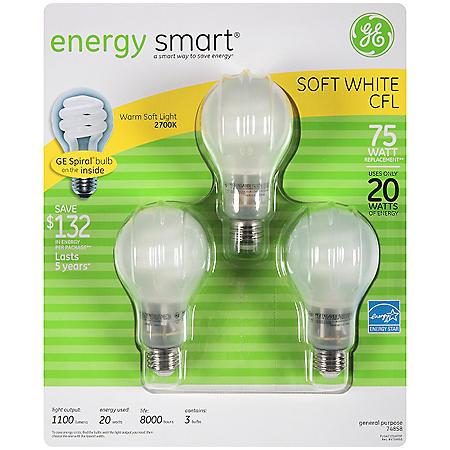 GE energy smart® CFL 20 Watt Covered Spiral Bulbs - 3 pk.
