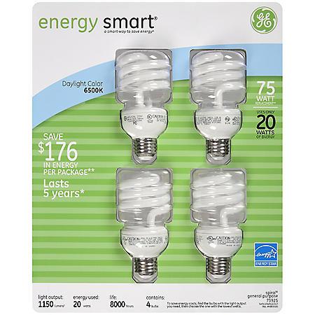 GE energy smart® CFL 20 Watt Spiral Daylight Bulbs - 4 pk.