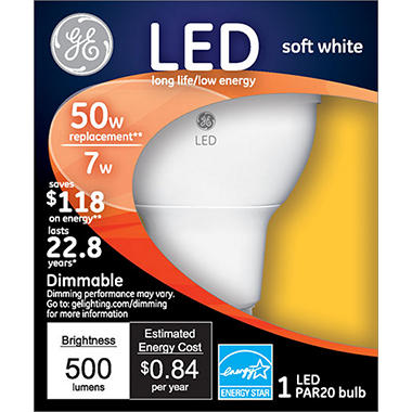 3-Pack GE LED 7 Watt PAR20 Bright White Indoor Floodlight