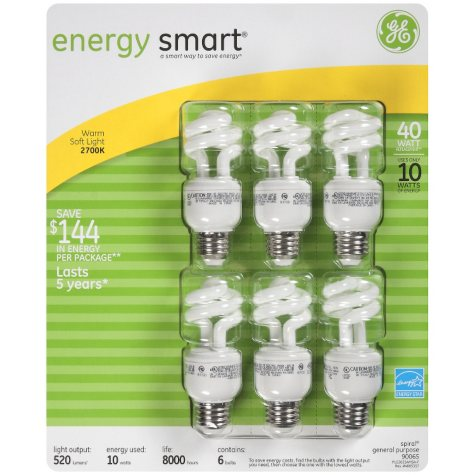 GE Energy Smart™ 40 CFL Bulbs - 6 pk.