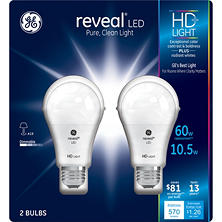 GE 11 Watt A19 Reveal HD LED Light Bulbs (2-pack)