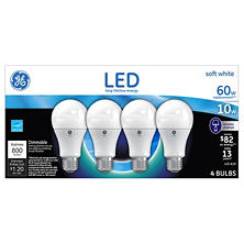 GE 10 Watt A19 LED Light Bulbs - Sof White (4pk)