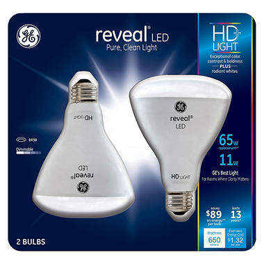 Ge 11 watt br30 reveal hd led light bulbs 2 pack sam 39 s for 90214 zip code