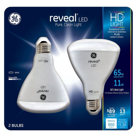 GE 11 Watt BR30 Reveal HD LED Light Bulbs (2-pack)