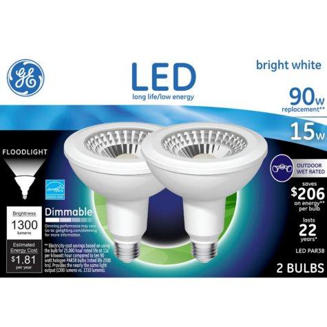 GE LED 15W PAR 38 Bright White Outdoor Flood Light Bulb (2 pk.)