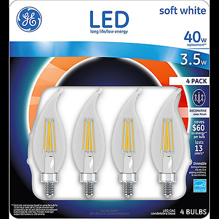 GE LED 3.5W Clear Finish Decorative Small Base Light Bulb (Soft White, 4 pk.)