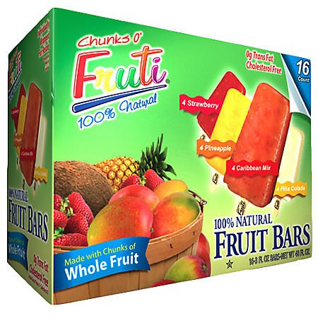 Chunks O' Fruti® 100% Natural Frozen Fruit Bars - 3 fl. oz. - 16 ct.