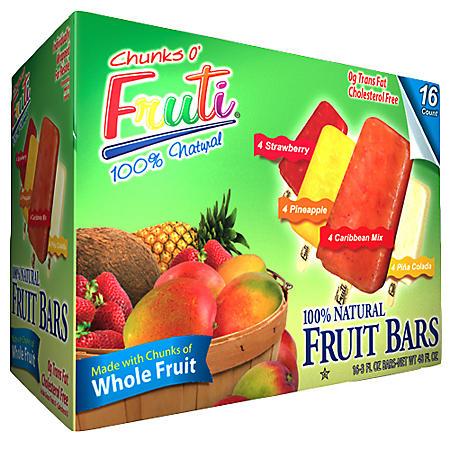 Chunks O' Fruti® 100% Natural Frozen Fruit Bars - 3 fl. oz. - 16 ct.