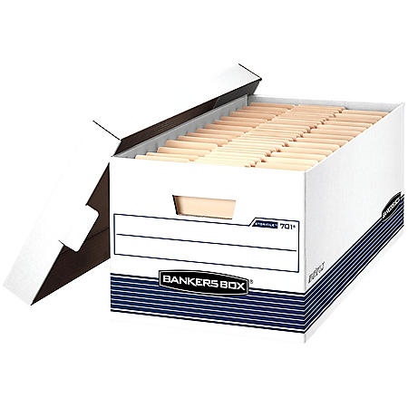 Bankers Box STOR/FILE Storage Box with Locking Lid, White/Blue (Letter, 4/Carton)