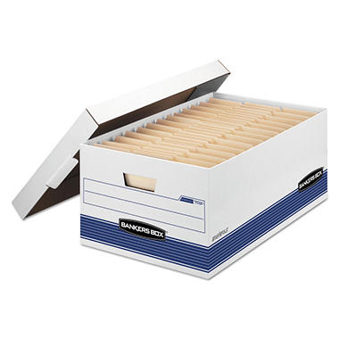 Bankers Box STOR/FILE Storage Box with Locking Lid, White/Blue (Legal, 4/Carton)