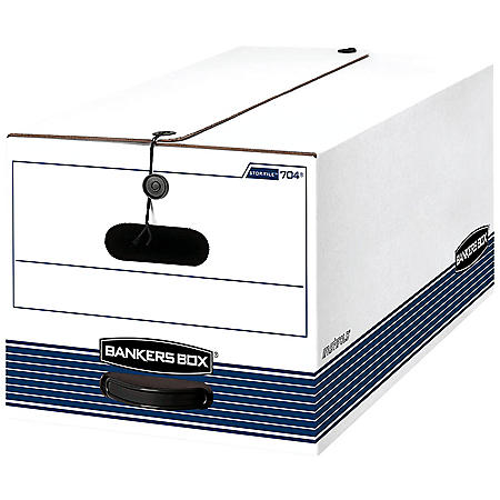 Bankers Box STOR/FILE Storage Box with String and Button Closure, White/Blue (Legal, 4/Carton)