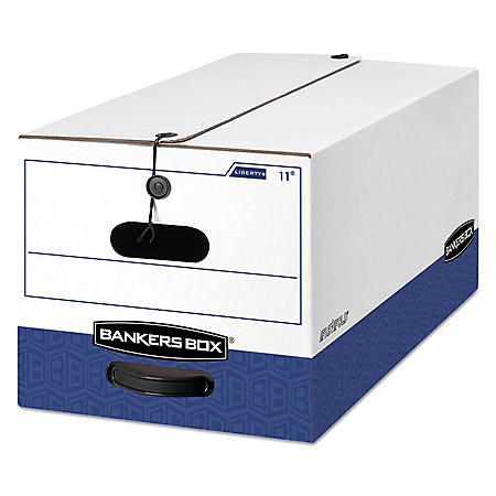 Bankers Box LIBERTY Heavy-Duty Strength Storage Box, White/Blue (Letter, 4ct.)