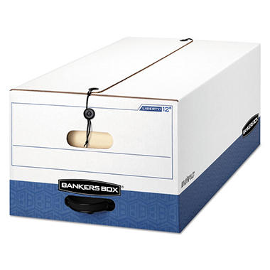 Bankers Box LIBERTY Heavy-Duty Strength Storage Box, White/Blue (Legal, 4ct.)