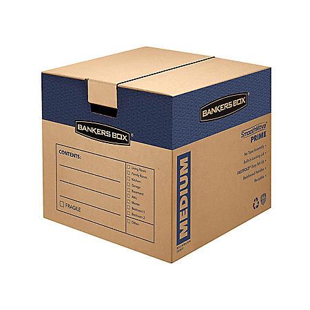 "Bankers Box SmoothMove Prime Medium Moving/Storage Boxes, Kraft (18 3/4"" x 18 1/8"" x 16 5/8"", 8 ct.)"