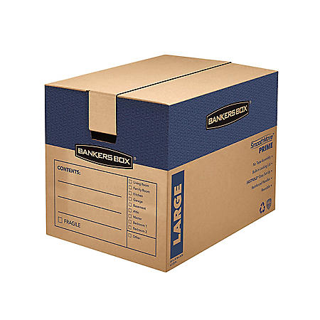 "Bankers Box SmoothMove Prime Large Moving/Storage Boxes, Kraft (25"" x 18 1/4"" x 19"", 6 ct.)"