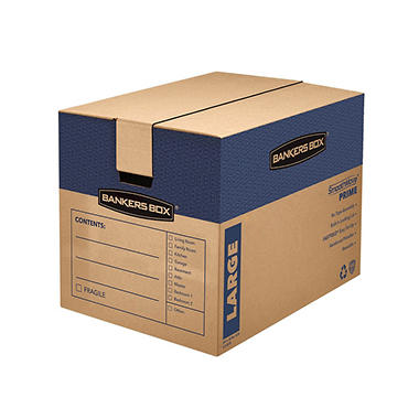 Bankers Box SmoothMove Prime Large Moving/Storage Boxes, 25 x 18 1/4 x 19, Kraft, 6ct.
