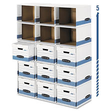 Bankers Box Bankers Box File/Cube Box Shell, White/Blue (Legal/Letter)