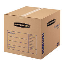 Bankers Box SmoothMove Basic Medium Moving Boxes, 18 1/4 x 18 1/4 x 16 3/8, Kraft/Black, 20ct.