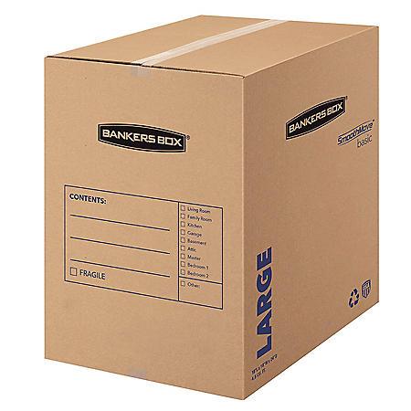 "Bankers Box SmoothMove Basic Large Moving Boxes, 18"" L x 18"" W x 24"" H, Kraft/Blue, 15/Carton"