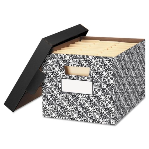 Bankers Box STOR/FILE Decorative Medium-Duty Storage Box, Black/White Brocade (Letter/Legal)