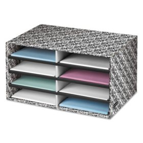 Bankers Box - Decorative Eight Compartment Literature Sorter, Letter Size -  White/Black Brocade