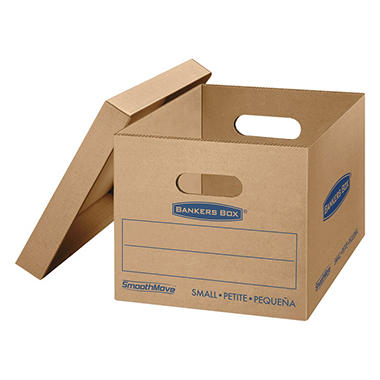 Bankers Box SmoothMove Classic Small Moving/Storage Box, Kraft (16 1/4 x 12 1/2 x 10 1/2, 10ct.)