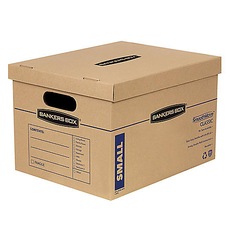 """Bankers Box SmoothMove Classic Small Moving Boxes, 15"""" L x 12"""" W x 10"""" H, Kraft/Blue, 15/Carton"""