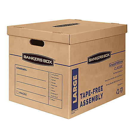 """Bankers Box SmoothMove Classic Large Moving Boxes, 21"""" L x 17"""" W x 17"""" H, Kraft/Blue, 5/Carton"""