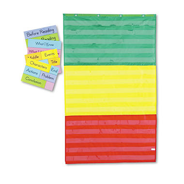 Carson-Dellosa Publishing - Adjustable Tri-Section Pocket Chart with 18 Color Cards, Guide -  36 x 60