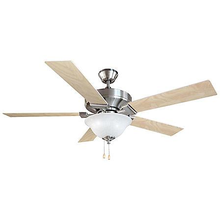 "Ironwood by Design House 52"" Ceiling Fan with 5 Blades and Light Kit - Satin Nickel"