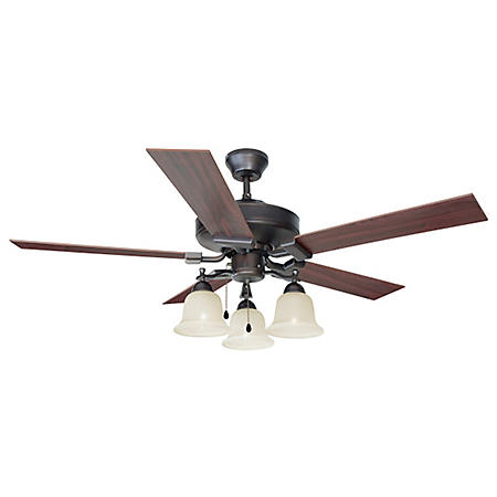 "Ironwood by Design House 52"" Ceiling Fan with 5 Blades and Light Kit - Brushed Bronze"