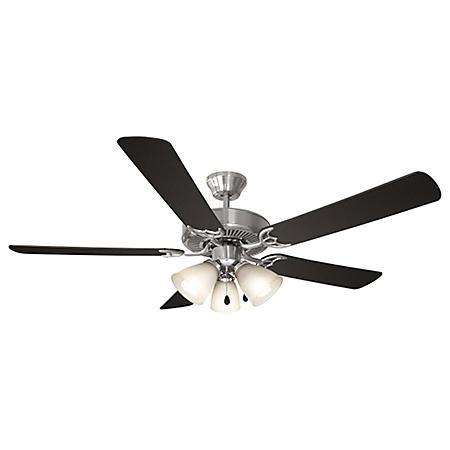 "Design House Millbridge 52"" Ceiling Fan with Light Kit, 5 Blades - Satin Nickel"