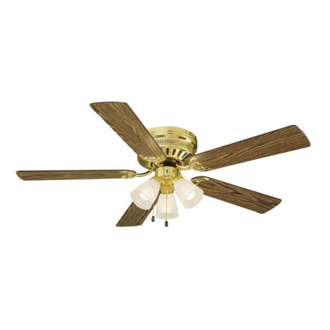 "Millbridge by Design House 52"" Ceiling Fan with 5 Blades and Light Kit - Polished Brass"