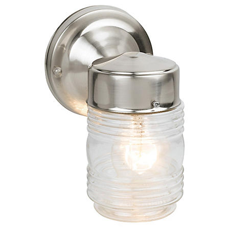 Jelly Jar by Design House Outdoor Downlight - Satin Nickel