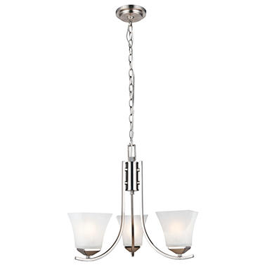 Design House 3-Light Chandelier Torino Collection - Satin Nickel