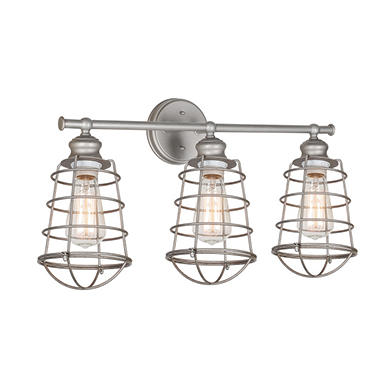 Ajax 3-Light Galvanized Indoor Vanity Light