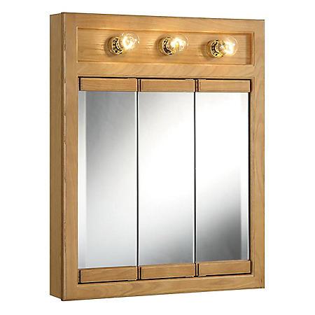 Design House Richland Nutmeg Oak Lighted Tri-View Wall Cabinet Mirror