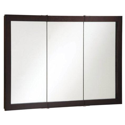 Design House Ventura Espresso Tri-View Medicine Cabinet Mirror
